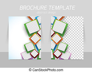 Flyer template back and front design with squares