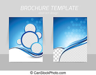 Flyer template back and front design with wave in blue color...