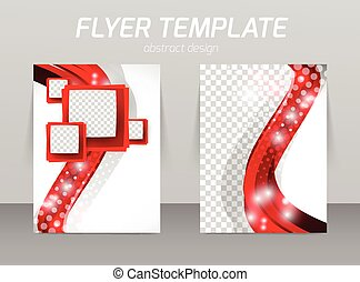 Flyer template abstract design with red wave and squares