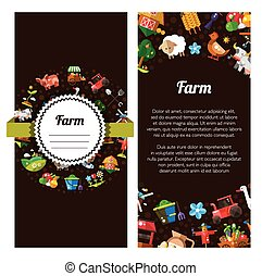 Flyer template of modern flat design  farm and agriculture icons