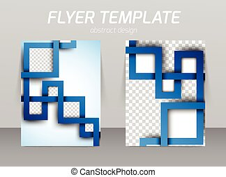 Flyer template with abstract spiral in square style