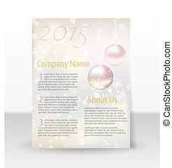 Flyer template with Christmas decoration