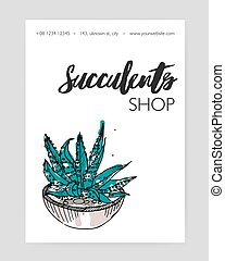 Flyer template with hand drawn desert plant growing in pot and place for text on white background. Natural home decoration, potted houseplant. Vector illustration for succulent shop advertisement.