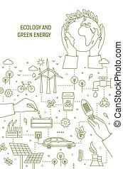 Flyer template with hands holding planet Earth, lightbulb and seeds surrounded by wind and solar power stations, electric car. Ecology, green energy generation. Monochrome linear vector illustration.
