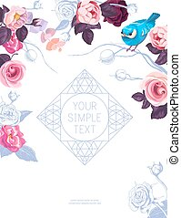 Flyer template with lovely half-colored rose flowers and little bird on white background. Vector illustration for greeting card, bridal party or wedding invitation, website announcement, postcard.