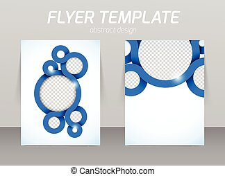 Flyer template with spiral in blue color