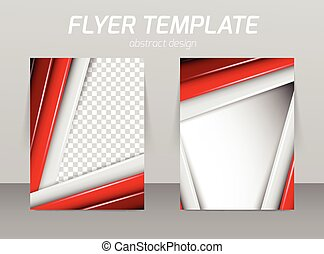 Flyer template with straight red and gray lines