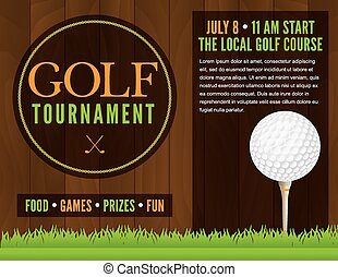 flyer, toernooi, golf, illustratie