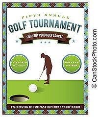 flyer, toernooi, golf, mal