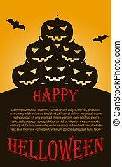 Flyer with dark Halloween pumpkins. Vector illustration