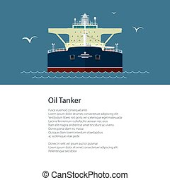 Flyer with Oil Tanker - Poster with Industrial Vessel at...