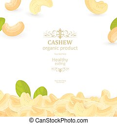 flyer with pile of tasty cashews for your design