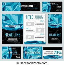 Flyers, banners, brochures and cards with polygonal elements. Vector templates set