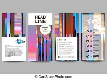 Flyers set, modern banners. Business templates. Cover design template, abstract vector layouts. Glitched background made of colorful pixel mosaic. Digital decay, signal error. Trendy glitch backdrop.