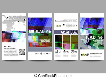 Flyers set, modern banners. Business templates. Cover design template, abstract vector layouts. Glitched background made of colorful pixel mosaic. Digital decay, signal error, television fail.