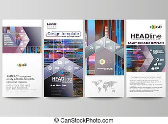 Flyers set, modern banners. Business templates. Cover design template, abstract vector layouts. Glitched background made of colorful pixel mosaic. Trendy glitch backdrop.