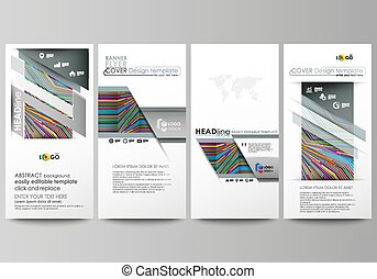 Flyers set, modern banners. Business templates. Cover design template, abstract vector layouts. Bright color lines, colorful style with geometric shapes forming beautiful minimalist background.
