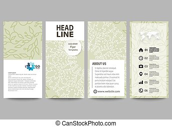 Flyers set, modern banners. Business templates. Cover design template, flat layouts. Green color background with leaves in linear style. Vector decoration for fashion, cosmetics, beauty industry.