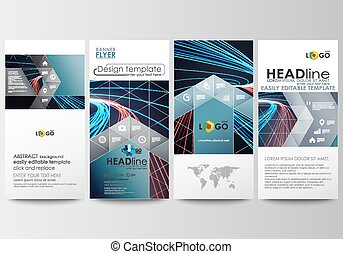 Flyers set, modern banners. Business templates. Cover template, easy editable, flat layouts. Abstract lines background with color glowing neon streams, motion design vector.