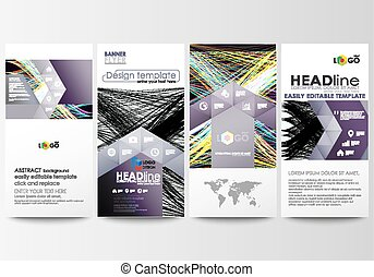 Flyers set, modern banners. Business templates. Cover template, easy editable flat style layouts, vector illustration. Abstract waves, lines and curves. Dark color background. Motion design.