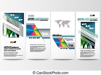 Flyers set, modern banners. Business templates. Cover template, easy editable flat style layouts, vector illustration. Colorful background, abstract waves, lines. Bright color curves. Motion design.