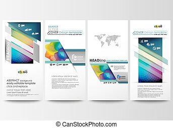 Flyers set, modern banners. Business templates. Cover template, easy editable flat style layouts, vector illustration. Colorful design background with abstract shapes and waves, overlap effect