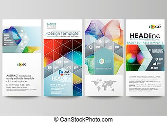 Flyers set, modern banners. Business templates. Cover template, easy editable flat style vector layouts. Colorful design, overlapping geometric shapes and waves forming abstract beautiful background.