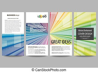 Flyers set, modern banners. Business templates. Cover template, easy editable layouts, vector illustration. Colorful background with abstract waves, lines. Bright color curves. Motion design.