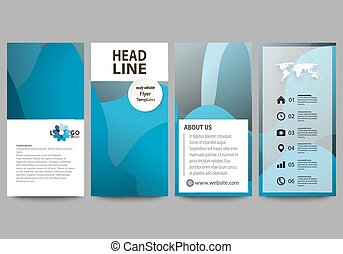 Flyers set, modern banners. Business templates. Cover template, flat style layouts, vector illustration. Bright color pattern, colorful design, overlapping shapes forming abstract beautiful background