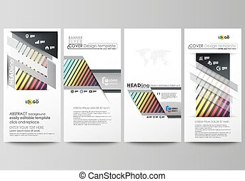 Flyers set, modern banners. Business templates. Cover template, vector layouts. Bright color rectangles, colorful design, geometric rectangular shapes forming abstract beautiful background