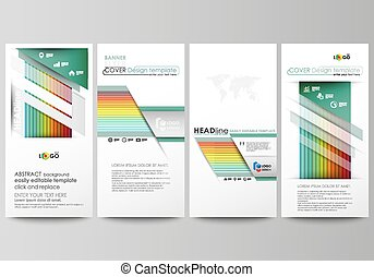 Flyers set, modern banners. Business templates. Flat style vector layouts. Bright color rectangles, colorful design, overlapping geometric rectangular shapes forming abstract beautiful background