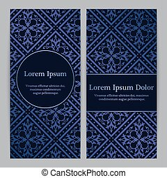 Flyers with gradient blue floral pattern