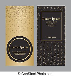 Flyers with patterns in gold and black - halftone
