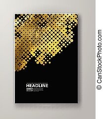 Flyers with patterns in gold and black halftone texture.