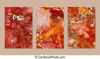Flyers with red and gold marble abstract backgrounds