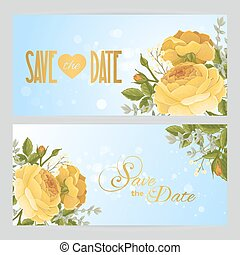 Flyers with rose graphic flowers on blue sky background....