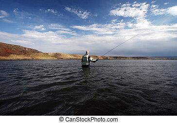 Flyfisherman casting in calm waters