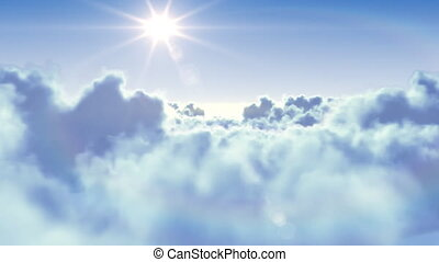 flyga slut, den, skyn, med, den, sol