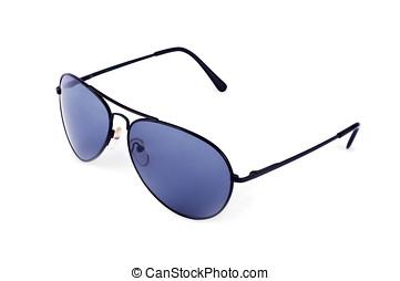 flygare, solglasögon, isolerat, vita