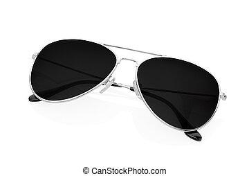 flygare, svart, solglasögon, vita