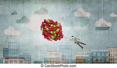 flygning, businessman., begrepp, avbild