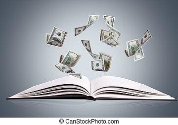 flygning, dollar, sedlar, tidskrift, bok, öppna, eller