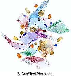 flygning, euro, pengar