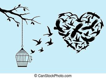 flygning, fåglar, hjärta, vektor