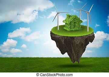 flygning, flytande, ö, in, grön, energi, begrepp, -, 3, framförande