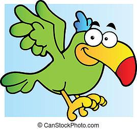 flygning, grönt papegoja