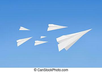flygning,  paperplanes