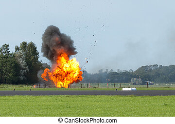 flygning, skräp, explosion