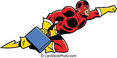 flygning, superhero, portfölj, affär