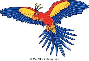 flygning, tecknad film, papegoja